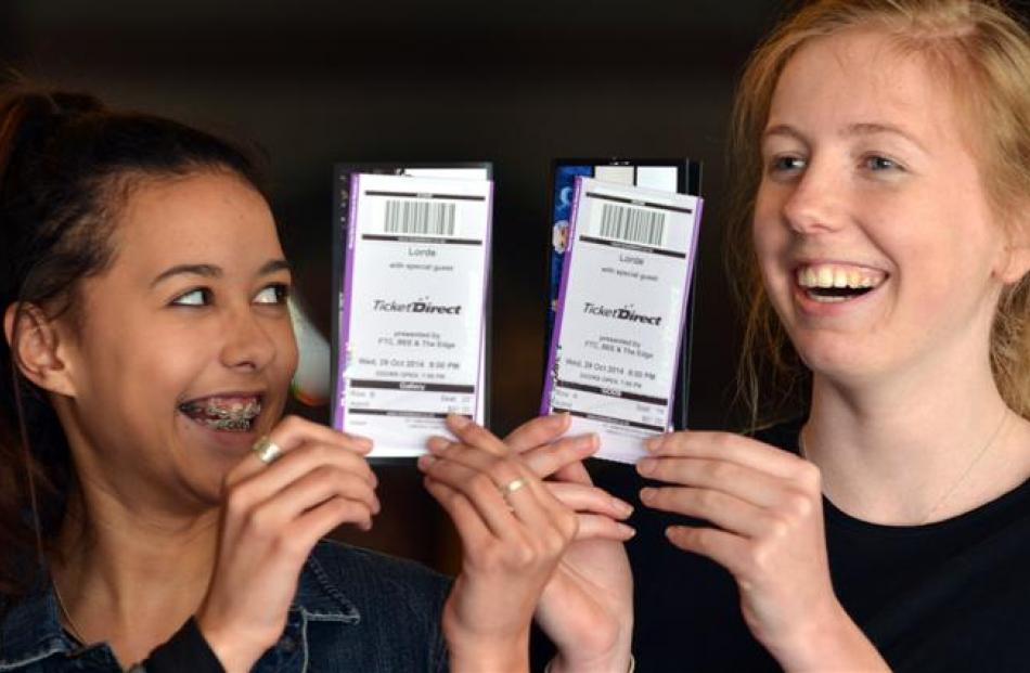 Kyrah Hamilton (left) and Hetty Gilbertson show off their Lorde tickets at the Regent Theatre in...