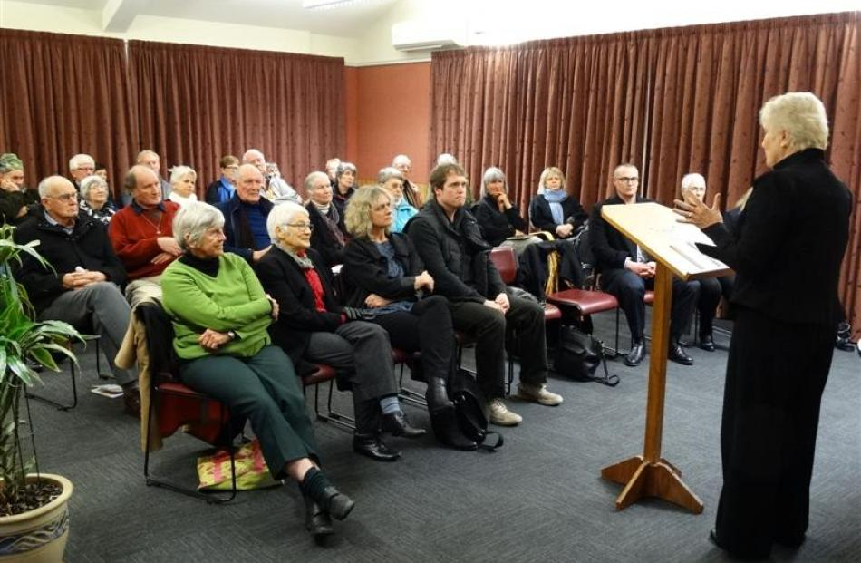 Labour health spokeswoman Annette King speaks at a public meeting in Queenstown last night. Photo...