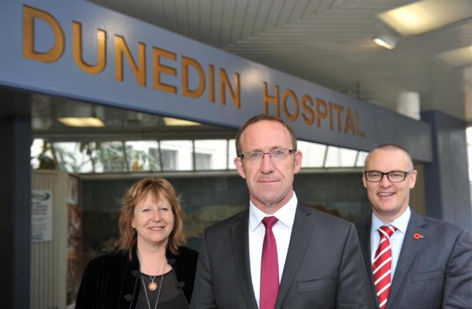 Labour leader Andrew Little (centre) with Dunedin South MP Clare Curran and Dunedin North  MP...