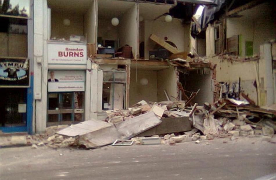 Labour MP Brendon Burns electorate office is damaged after the latest 6.3 quake, in Christchurch,...