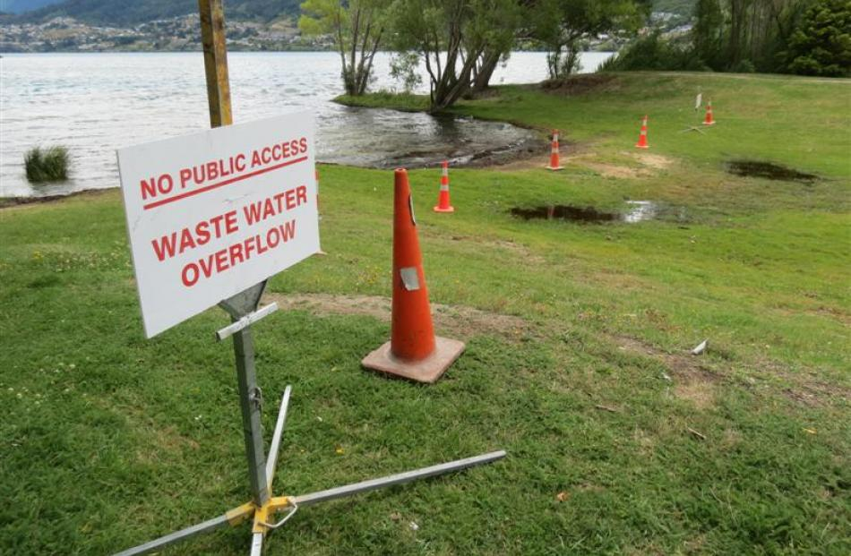 Lakefront users were warned to keep away from ground saturated with wastewater in Frankton on...