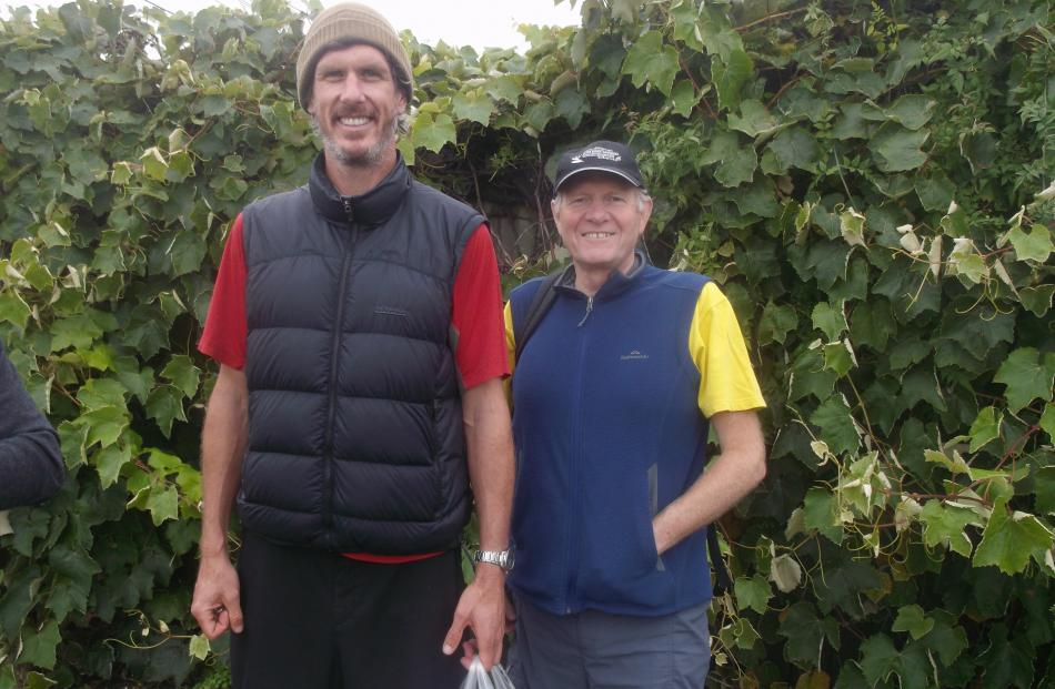 Lance Talstra (left) chats to River of Life Project co-ordinator Mark Gibson, during a walk...