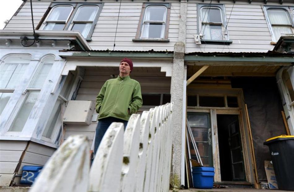Landlord Ted Ottrey outside his boarding house in Maitland St in Dunedin. Photo by Stephen Jaquiery.