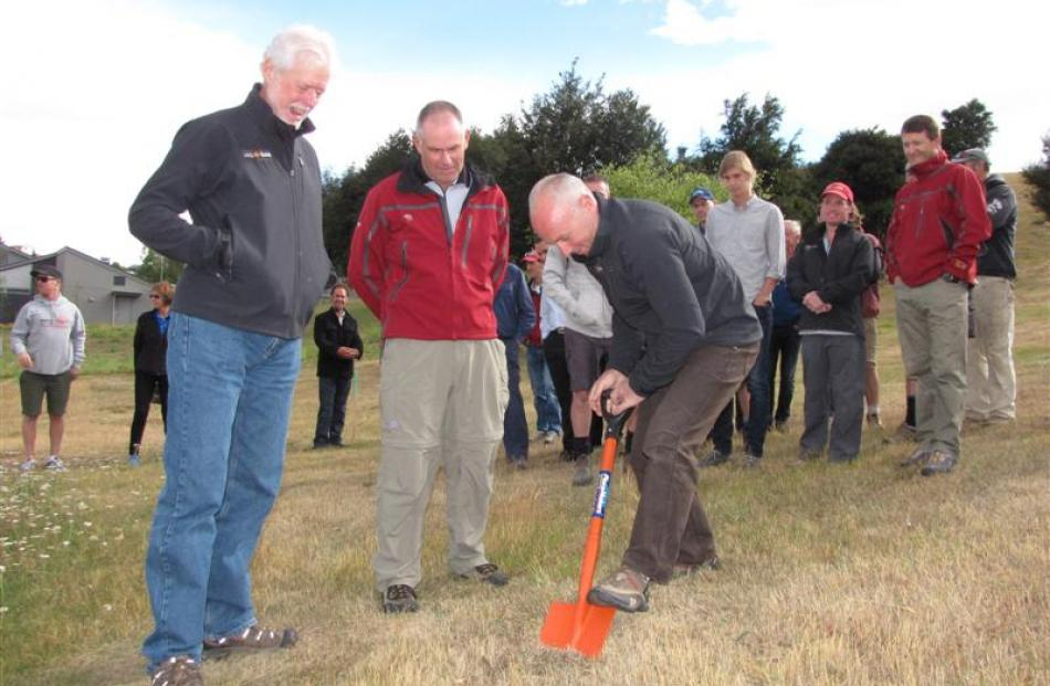 LandSAR Wanaka members (from left) Phil Melchior, chairman Paul Marshall and Roy Bailey turn the...