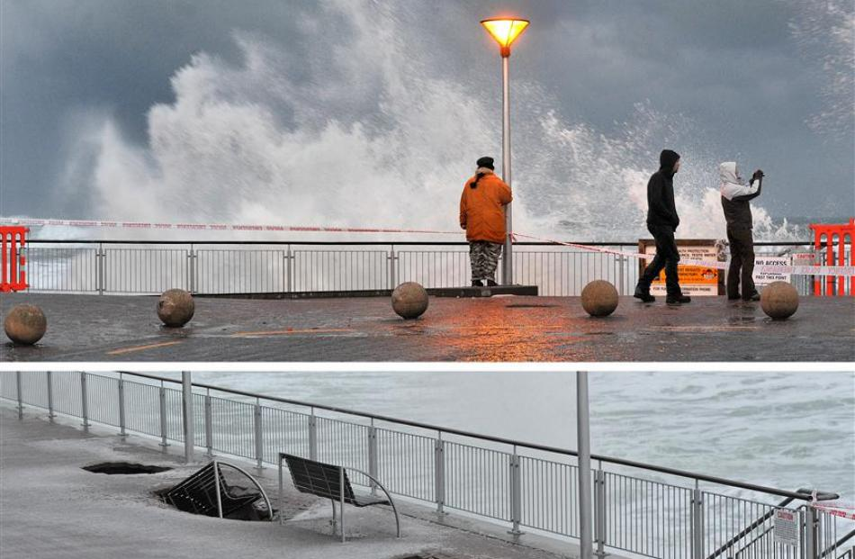 Large waves continue to pound the St Clair seawall as more sink holes appeared last night.