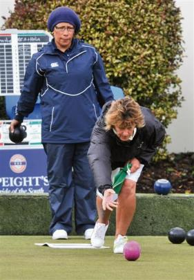 Lead Christine Buchanan (Queenstown)  delivers a bowl during the final of the Dunedin Classic...