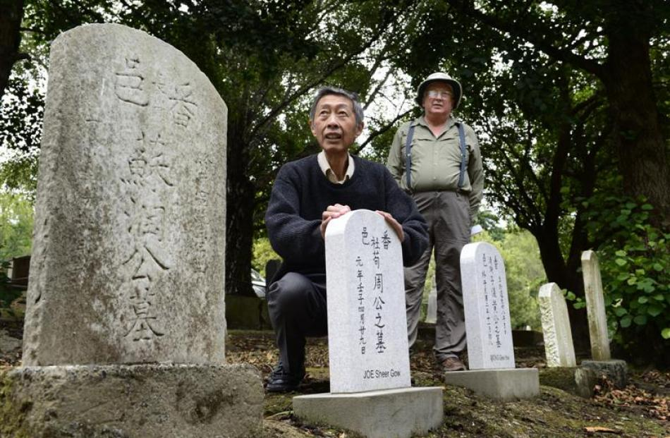 Les Wong (left), a Dunedin resident active in Chinese grave restoration, and Stewart Harvey, who...