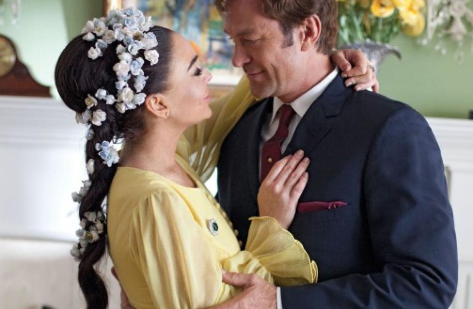 Lindsay Lohan as actress Elizabeth Taylor and Grant Bowler as Richard Burton are seen in an image...