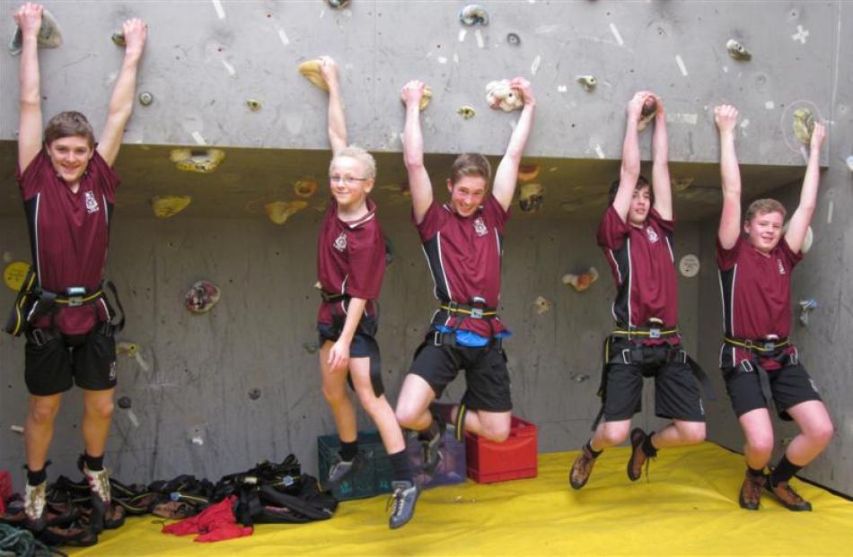 Logan Park High School  pupils (from left) Matthew Hendri (14), Reuben Campbell (13), Aiden Braid...