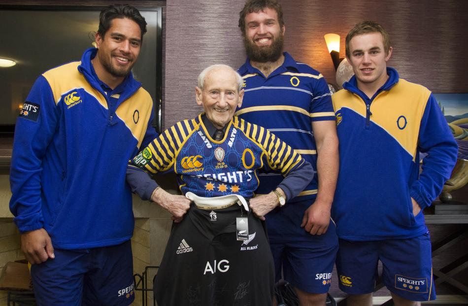 Long-serving Otago fan Tom Galway, who turned 100 on Monday, received a limited edition Otago...