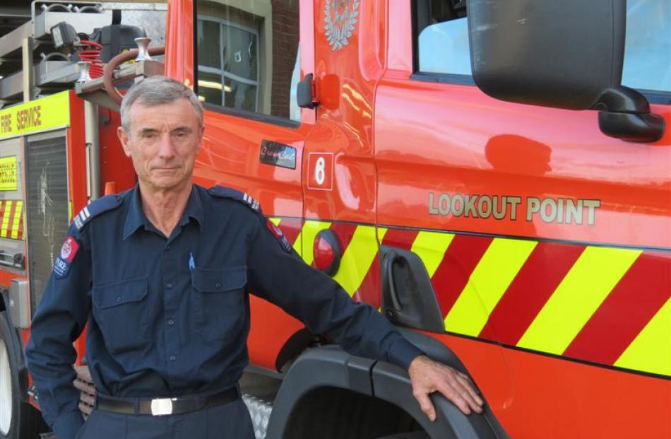 Lookout Point Senior Firefighter Jeffrey Woodford (65) drove the fire engine for the last time on...