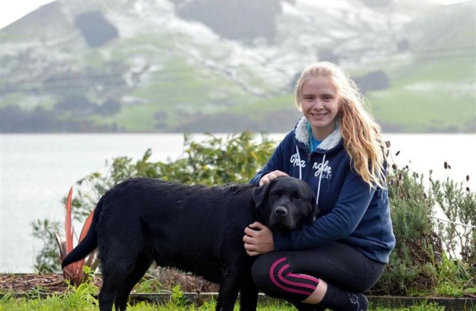 Mackenzie Clearwater  and her dog Knight. Photos by Peter McIntosh.