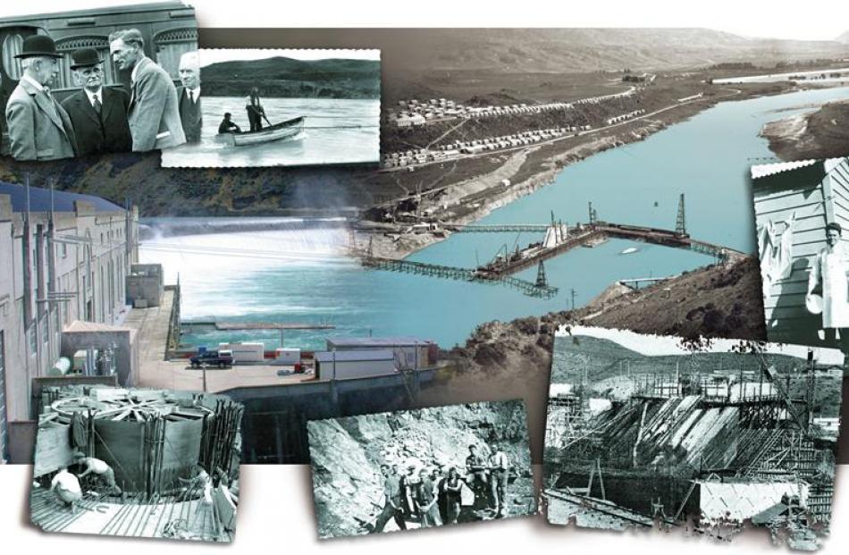 Main photo left: A flood tops the Waitaki dam earlier this year. Main photo right: Trestle...