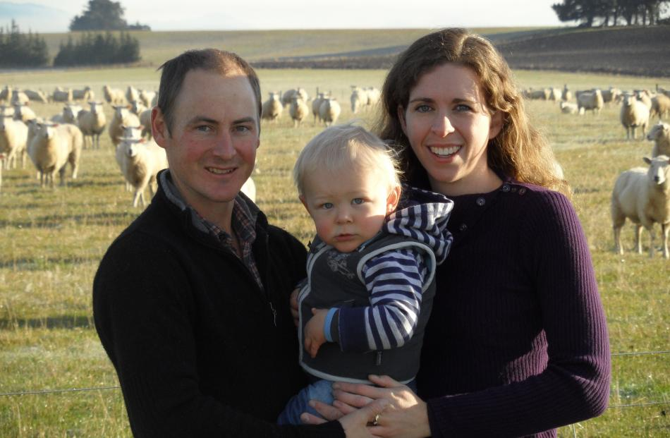 Mandeville farmers Andrew and Katherine Welsh, with son Toby (18 months.