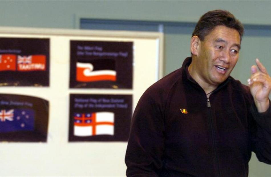 Maori Party MP Hone Harawira speaks about choosing a national Maori flag during a consultation...