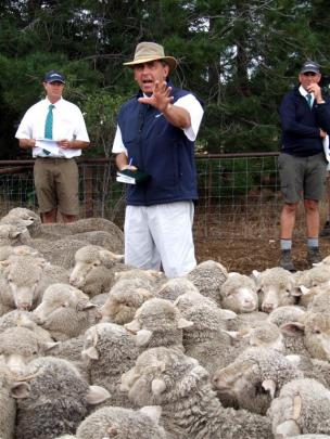 Mark Yeates, of PGG Wrightson, sells a pen of lambs.