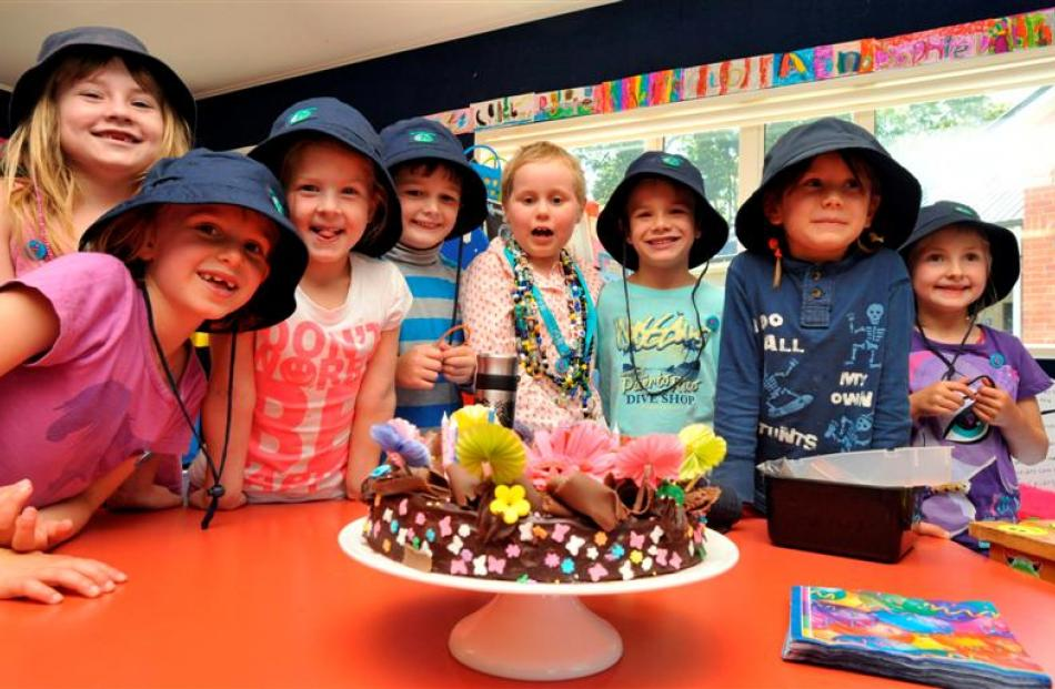 Marking a special birthday yesterday are school friends (from left) Erika Reid (6), Anna Fulton ...