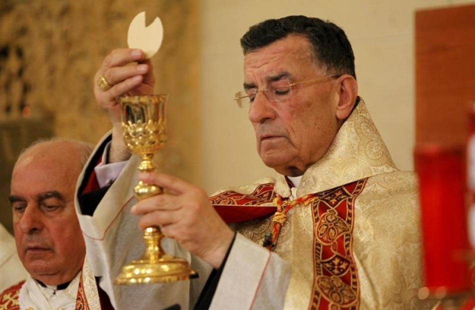 Maronite Patriarch Beshara al-Rai during a Mass with members of the Christian community in...