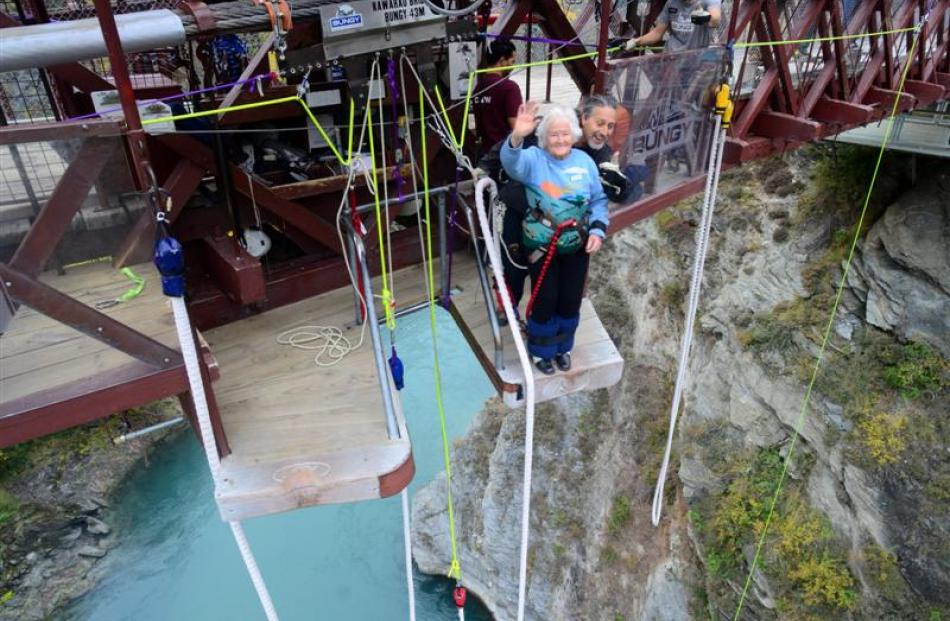 Mary Manssen, of Auckland,  becomes the oldest  woman to jump with AJ Hackett Bungy at its...
