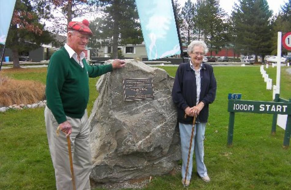 Max Smith and his wife Velda at the opening of Max Smith Park at Lake Ruataniwha.