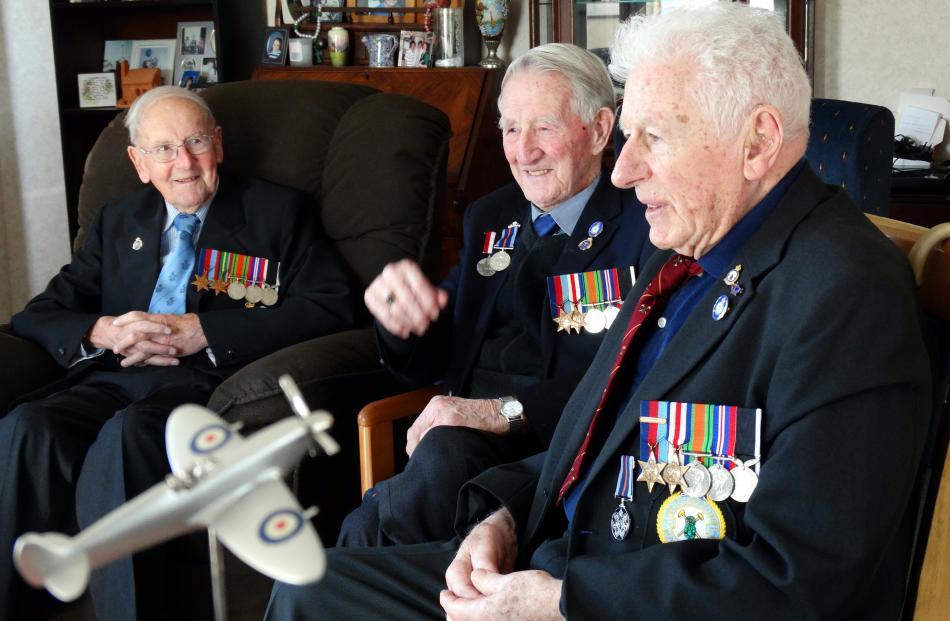 Members of the Dunedin Brevet Club (from left) Fraser Mitchell (92), Don MacKenzie (90) and...