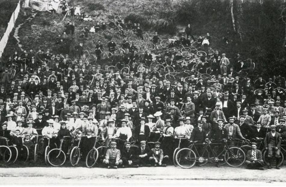 Members of the Dunedin Cycling Club pose for a photograph about 1910. the location is not...