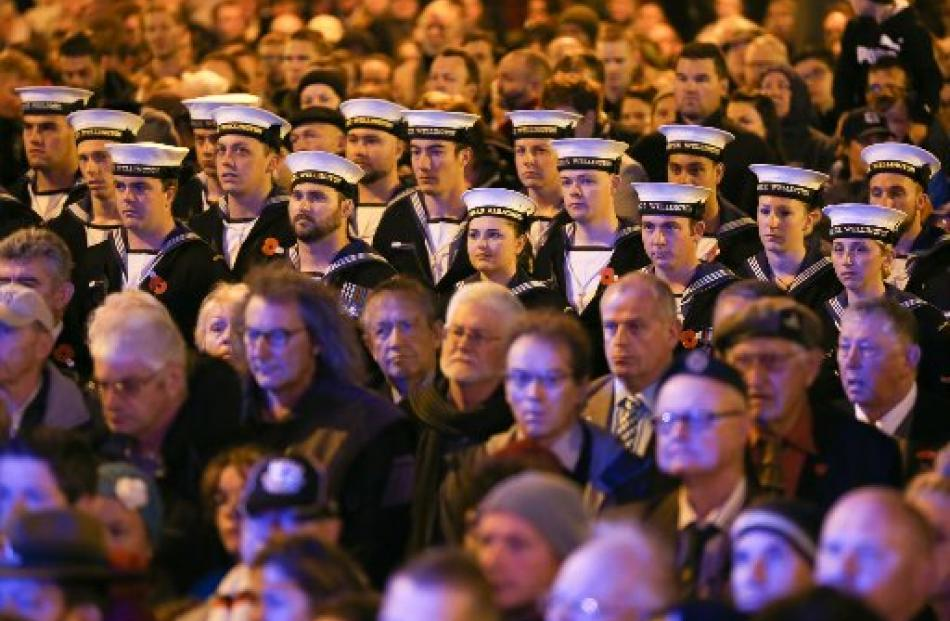 Members of the Royal New Zealand Navy look on during dawn service at the Wellington Cenotaph....