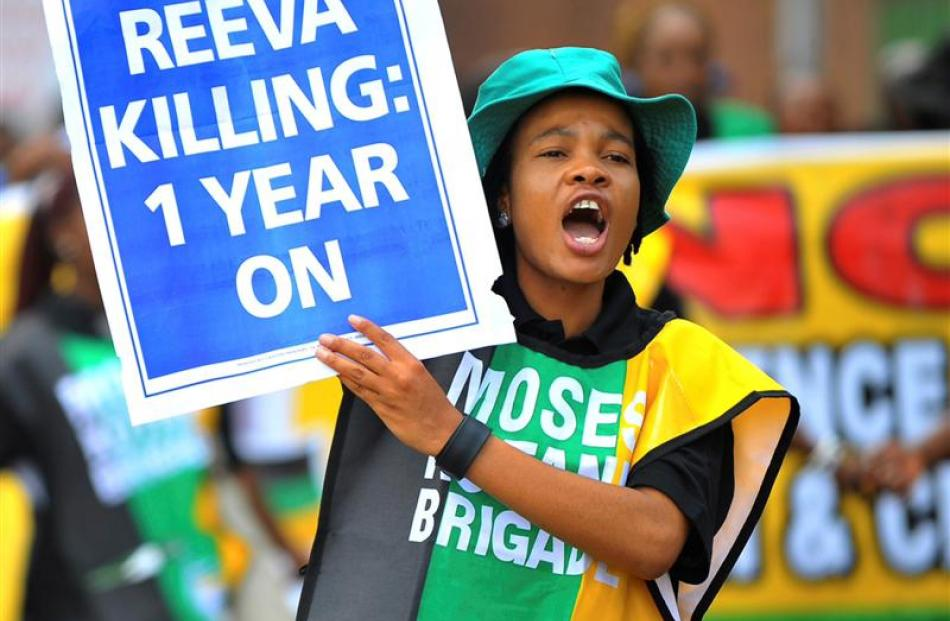 Members of the ruling African National Congress Women's League march in Pretoria on the...