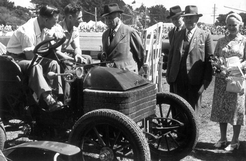 Mervyn Winter (left) and Frank Burtenshaw sit in the 1900 Wolseley before the start of the first...