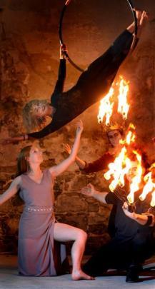 Metamorphosis performers Lexy Patrylak (kneeling), Rochelle Brophy (hoop), Tama Braithwaite...