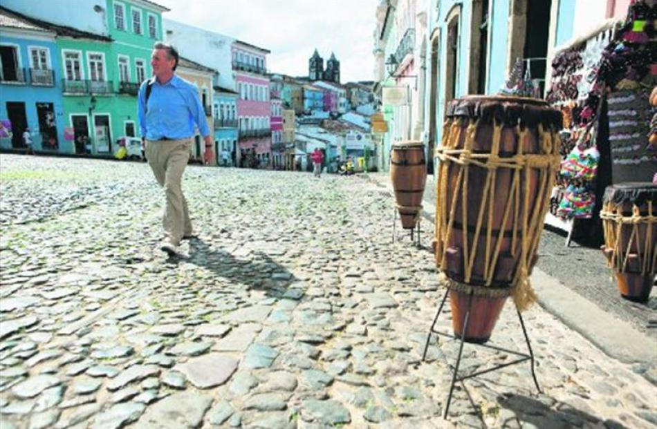 Michael Palin walks the cobbled streets of the Pelourinho, named after the pillory that stood...