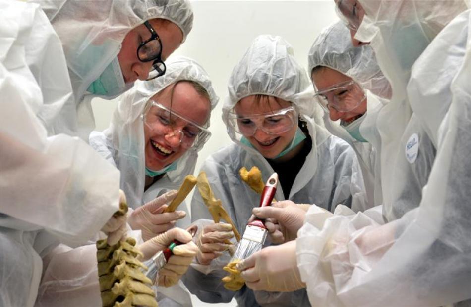 Mock  investigators (from left) Hannah Creary (15), of Wellington, Aoife Picken (15), of Dunedin,...