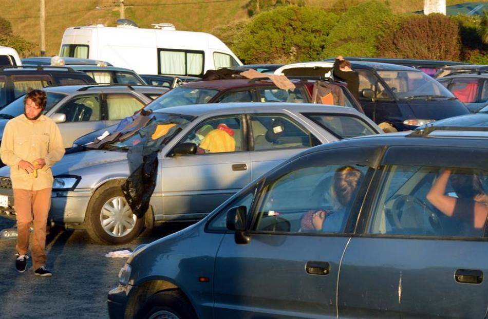 More than 30 vehicles parked in the Ocean View Reserve on Wednesday night. Photos: Stephen Jaquiery