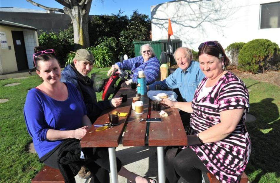 Mosgiel residents (clockwise from left) Kelly Russell, John Black, Eleanor Moore, Campbell Shaw...