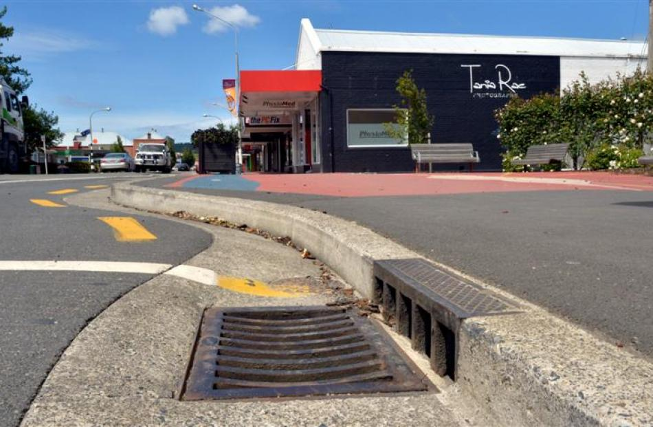 Mosgiel street improvements that have blocked the former intersection of Lanark St (right, behind...