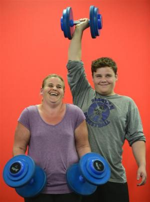 Mother and son powerlifters Shelley and Sean Kennedy train at Jetts gym in Dunedin this week....