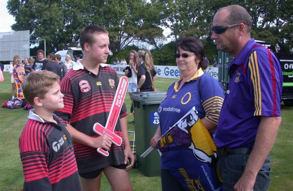 Mum and Dad  Tracy and Dave Willetts, who are Highlanders supporters, face off against  sons Sean...
