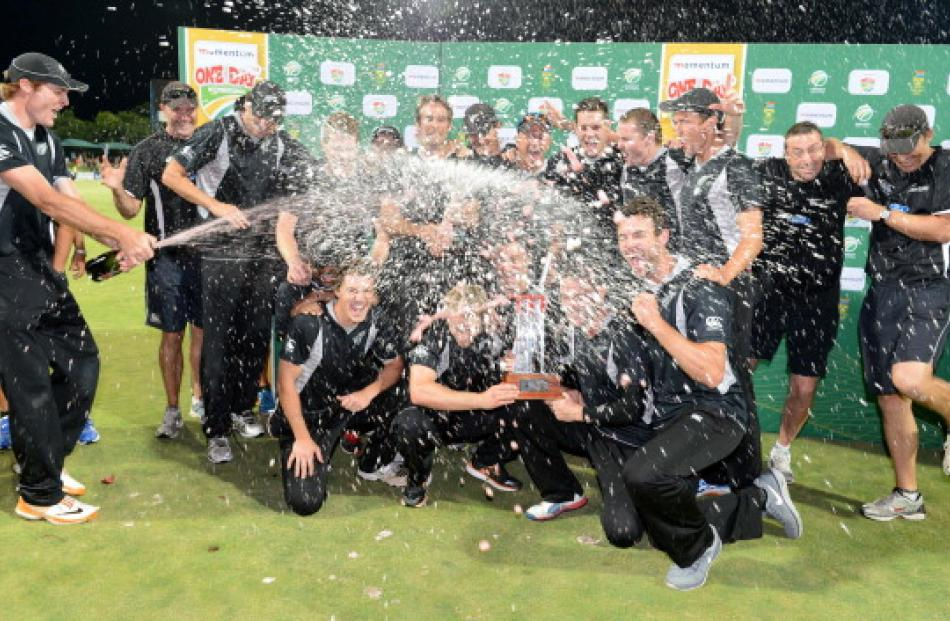 New Zealand celebrate their first series win in South Africa after the third ODI in Potchefstroom...