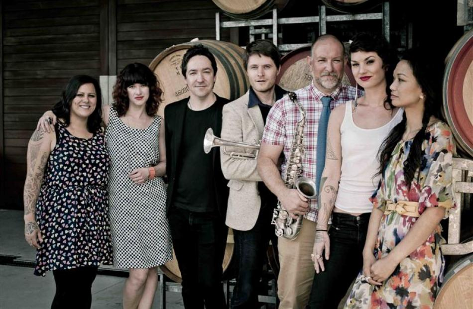 New Zealand pop and rock music artists (from left) Anika Moa, Julia Deans, Jon Toogood, Toby...