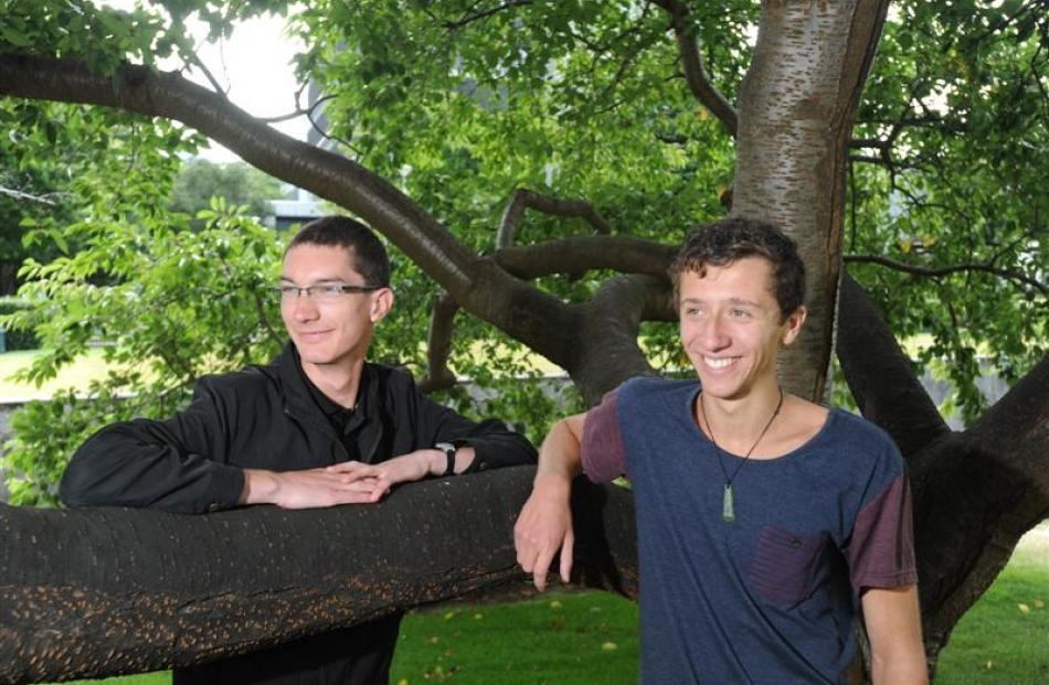 New Zealand Qualifications Authority top subject scholars Alex Gibbs (left) and Adam Gorrie....