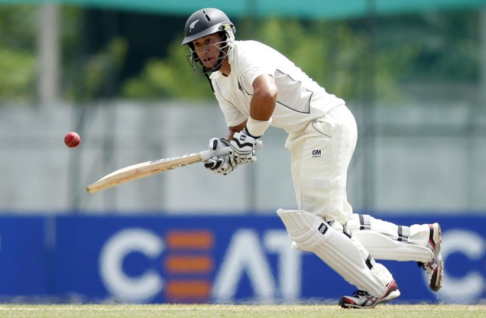 New Zealand's captain Ross Taylor plays a shot during the first day of their second and final...