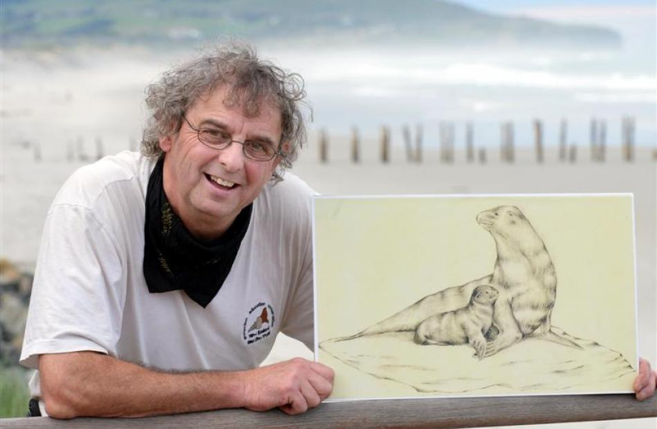 New Zealand Sea Lion Trust chairman Steve Broni shows an artist's impression of a sculpture...