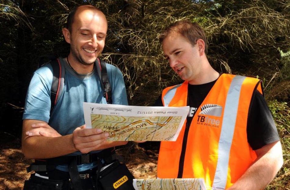 niversity of Otago researcher and masters student Robert Schadewinkel (left) and Animal Health...