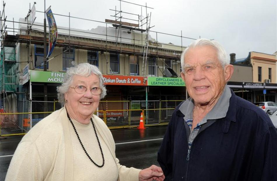 Norma and Cyril Brocklebank outside their South Dunedin building. Photo by Craig Baxter.