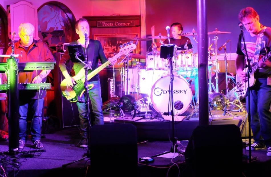 Odyssey members (from left)  Terry Gallavin (keyboards), Bill Kearns (bass), Jeff Stribling ...