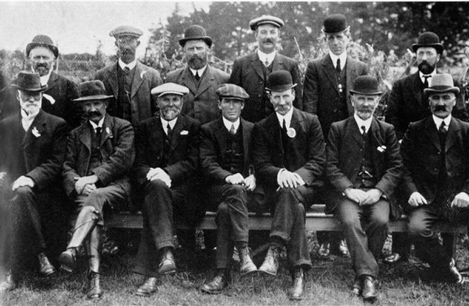 Officials at the Southland Western District A. and P. Show at Thornbury. Back row (from left):...
