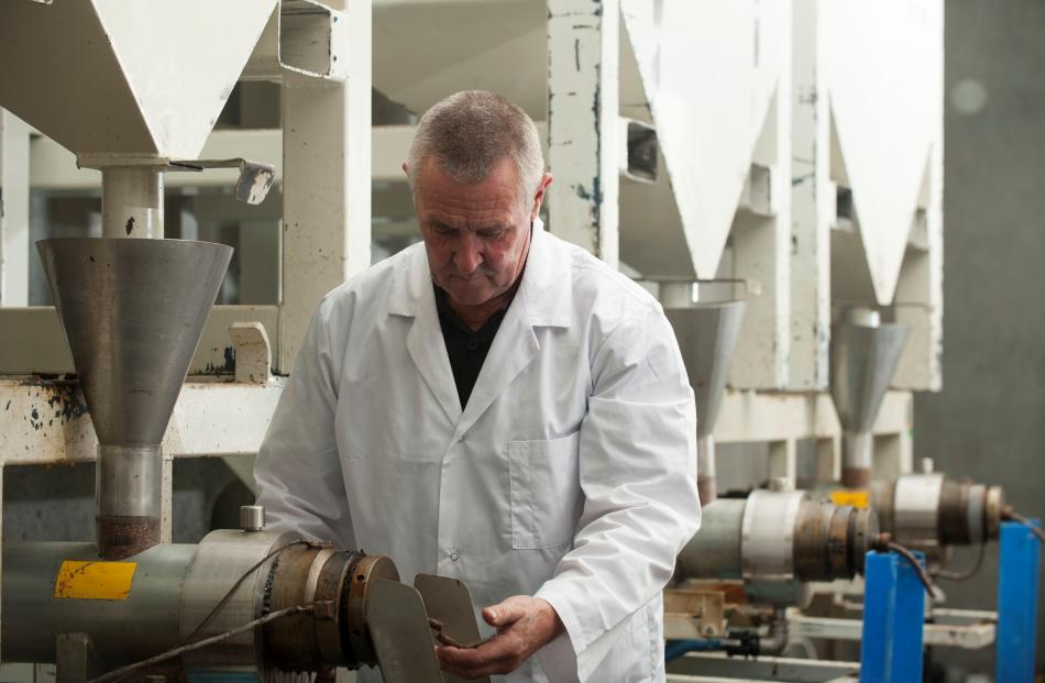 Oil Seed Extractions Production manager Barry Snell checks out oil extraction in the Ashburton...