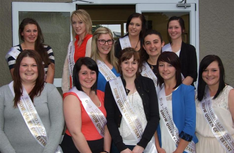 Tokomairiro A&P Show Queen hopefuls (from left, back row) Holly Watt, Kayla Redshaw, Kayla Graves...
