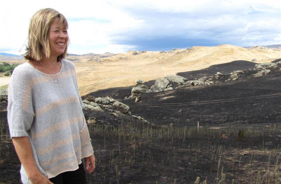 Olrig Station co-owner Linda Stephens surveys the aftermath of a fire that ripped through the...