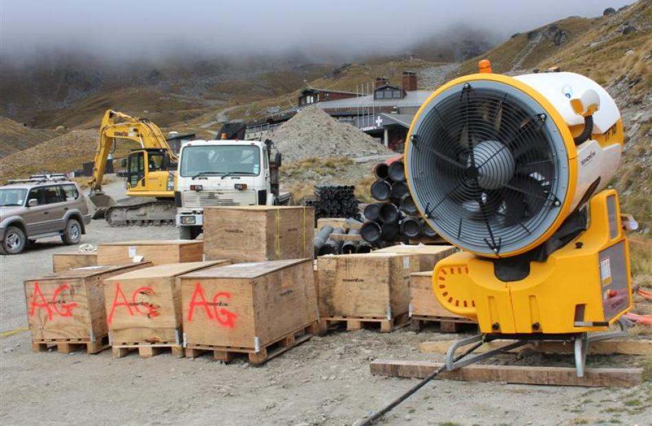 One of the new snowguns and other upgrade equipment to be installed at the Remarkables skifield...